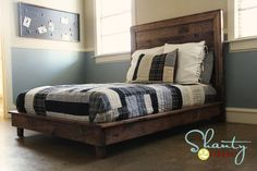 I want to make this!  DIY Furniture Plan from Ana-White.com  Build a wood platform bed out of boards in no time with this simple step by step diy plan. Wood platform bed features wood slats and a solid wood frame with wood legs. Inspired by Pottery Barn Teen Hampton Planked Platform Bed.