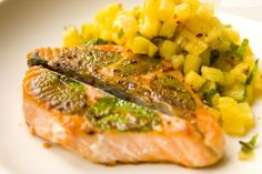 salmon with mint and pineapple tar-tar