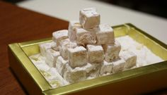 or Turkish Delight, is a sweet of starch and sugar gel often containing nuts and fruit flavorings. shops and restaurants in Sirkeci, Istanbul Istanbul Restaurants, Turkish Sweets, Turkish Delight, Turkish Recipes, Taste Buds, How To Stay Healthy, Cravings, Sugar, Foods