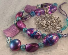 Purple & Aqua Silver Flower Necklace with Swarovski Crystals - pinned by pin4etsy.com