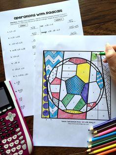 Radical operations coloring activity success in secondary на Algebra Activities, Algebra Worksheets, Color Activities, Maths Algebra, Math Resources, Simplifying Algebraic Expressions, 8th Grade Math, Math Class, Math Teacher