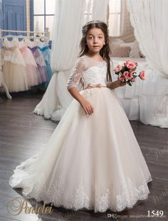 Flowergirls Dresses 2017 Pentelei With Half Sleeves And Lace Up Back Appliques Tulle Little Girls Communion Gowns With Bow Belt Floral Flower Girl Dresses Flower Dress For Girl From Uniquebridalboutique, $83.81| Dhgate.Com