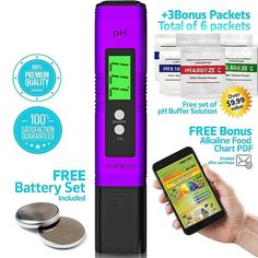 HealthyWiser Digital pH Meter - Pocket SIZE - pH Pen Tests Household Drinking Water Aquarium Swimming Pools Hydroponics Water Quality with ATC 0-14 pH Measuring Range with 6x pH Buffer Powders. Purple http://amzn.to/2piLf0D #HealthyWiser #ph #hydroponics #health #watertest #phtester #digital