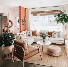 Boho Living Room, Home And Living, Earthy Living Room, White Couch Living Room, Living Room With Plants, Modern Living Room Decor, Vintage Modern Living Room, Modern Bohemian Decor, Boho Chic Interior