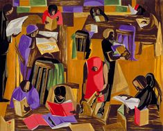 The Library, 1960, Jacob Lawrence