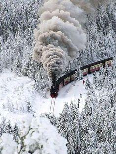 Snow Steam Train, Wernigerode, Winter in Germany Old Trains, Train Tracks, Winter Landscape, Winter Scenes, Snow Scenes, Winter Time, Belle Photo, Beautiful Places, Beautiful Scenery