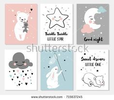 little bear rabbit moon and star cute characters set posters for baby room greeting cards kids and baby t-shirts and wear Moon Nursery, Star Nursery, Nursery Art, Girl Nursery, Clouds Nursery, Stars And Moon, Blank Business Cards, Room Posters, Kawaii