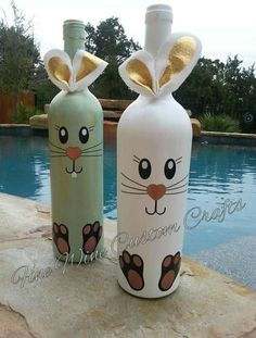 Learn how to Make Easter Wine Bottle Crafts easter eastercrafts spring Glass Bottle Crafts, Wine Bottle Art, Diy Bottle, Crafts With Wine Bottles, Recycled Wine Bottles, Painted Wine Bottles, Decorated Bottles, Bunny Crafts, Easter Crafts