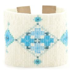 Light Blue Mix Floral Cuff Bracelet - Chan Luu