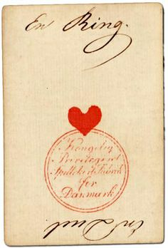 A♥ Ace of Hearts. Jacob Holmblad, Danish, 1820.