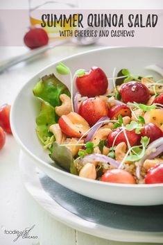 It's cherry season! This summer quinoa salad is a great way to highlight the sweetness of these bright red cherries. It comes together quickly and makes a great lunch or a side dish for a light summer dinner. via @foodiegirlchica