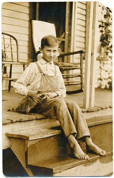 +~+~ Vintage Photograph ~+~+  Nine year old Raymond Farmer and his Pet Raccoon.