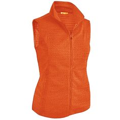 Need new golf apparel? Monterey Club takes pride in offering women's golf clothing for all shapes and sizes. Buy this Paloma (Coral Orange) Monterey Club Ladies & Plus Size Zip Up Golf Vests today from Lori's Golf Shoppe!