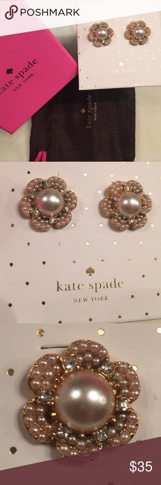 """Kate Spade Floral Pearl Stud Earrings Baubbly Faux pearls and twinkling crystals in a floral silhoutte vintage-inspired studs. 5/8"""" diameter kate spade Jewelry Earrings"""