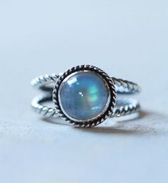 Maansteen Ring Regenboog Maansteen Sterling Zilver door DonBiuSilver