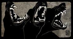Canis Albus-Can Cerbero Arte Punk, Art Brut, Arte Horror, The Villain, Hades, Werewolf, Aesthetic Art, Dark Art, Art Inspo