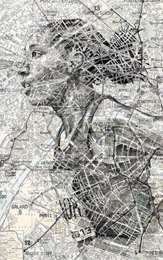Another piece by Ed Fairburn. I like the way the roads of the map have been left intentionally.