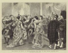 The Prince of Wales at Malta, Dancing the Reel at the United Service Ball. Illustration for The Graphic, 29 April 1876.