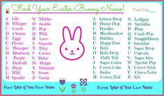 Trendy pet bunny names easter Crazy Names, New Names, Cool Names, Silly Names, What Is My Name, Birthday Scenario, Unicorn Names, Bunny Names, Name Games