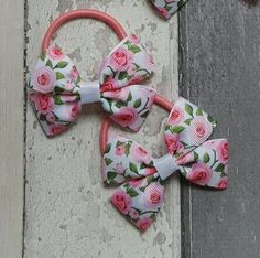 Roses hair bows bobbles or clips set of 2 by TheBowGeek on Etsy
