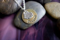 Hammered heart personalized mixed metal necklace - simple and thoughtful gift idea.