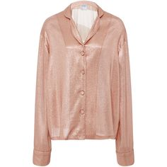 Cynthia Rowley     Lame Night Shirt (1.450 RON) ❤ liked on Polyvore featuring pink and cynthia rowley
