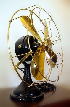 Antique General Electric Fan G.E. Motor Brass Blade & Cage Original Vintage 1908