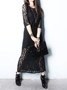 Long Black Lace Dress   Choies