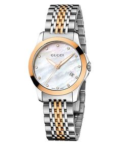 Gucci Watch, Women's Swiss G-Timeless Two Tone Stainless Steel Bracelet 27mm YA126514 - All Watches - Jewelry & Watches - Macy's
