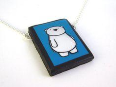 Blue Polar Bear Necklace by LaRu on Etsy