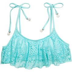 H&M Bikini top (1,330 INR) ❤ liked on Polyvore featuring swimwear, bikinis, bikini tops, bikini, swim, bathing suits, turquoise, swim suit tops, swim suits and swim tops