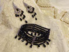 Crystal bead bracelet and earrings Crystal Beads, Crystals, Jewerly, Helmet, Beaded Bracelets, Earrings, Design, Fashion, Moda