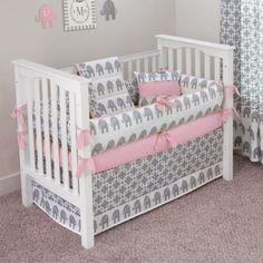 Luxury Nurseries - Ele Pink - Crib Bedding Set - Ele Pink Collection - Shop our Collections