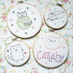 Free cat lady embroidery patterns