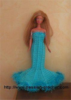 Robe de soirée au crochet pour Barbie