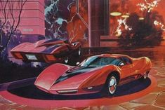 Painting of the 1967 Corvette Astro I concept car. Almost looks like a Syd Mead painting. Chevrolet Astro, Chevrolet Corvette, Chevy, Syd Mead, Conceptual Drawing, Car Mods, Car Sketch, Retro Futurism, Automotive Design