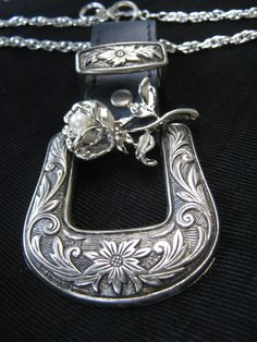 belt buckle necklace with white rose by SunyShinesPink on Etsy, $30.00