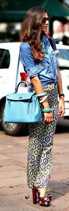Chambray Shirt with High Waist Print Pant | Street Styles
