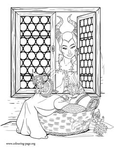 Maleficent looks through the window while the three flower pixies take care of…