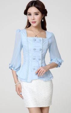 37 Ruffle Blouses To Update You Wardrobe Today - Global Outfit Experts Blouse Styles, Blouse Designs, Blouse And Skirt, Ruffle Blouse, Modest Fashion, Fashion Dresses, Ladies Fashion, Elegante Y Chic, Myanmar Dress Design