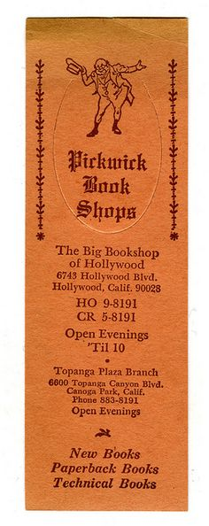 Image result for pickwick books hollywood