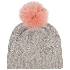 IDA Off Piste Hat - Grey With Pink Pom Pom ($130) ❤ liked on Polyvore featuring accessories, hats, grey with pink pom pom, gray beanie, pink beanie hat, grey hat, pink beanie and bobble hat