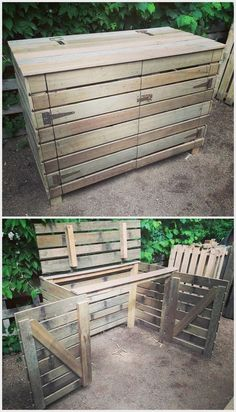 Recycled Pallets Ideas pallets made Garbage Storage Project - Old wood pallets are not of any use, it is believed by many people out there; but it is not true. They are usable after. Trash Can Storage Outdoor, Garbage Can Storage, Garbage Shed, Outdoor Trash Cans, Diy Pallet Projects, Pallet Ideas, Wood Projects, Bin Shed, Pallet Cabinet