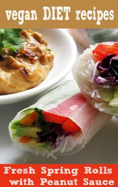 Vietnamese-Style Fresh Spring Rolls (Summer Rolls) with Peanut Sauce - Vegan / Gluten-Free Vegan Spring Rolls, Fresh Spring Rolls, Fresh Rolls, Diet Recipes, Vegetarian Recipes, Cooking Recipes, Healthy Recipes, Vegetarian Lifestyle, Yummy Recipes