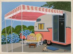 Items similar to Mid Century Modern Eames Retro Limited Edition Print from Original Painting Flamingo Pink Trailor on Etsy Retro Caravan, Retro Campers, Camper Trailers, Vintage Campers, Pod Camper, Vintage Motorhome, Retro Trailers, Vintage Caravans, Happy Campers