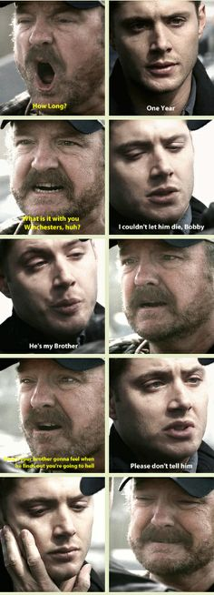 "[GIFSET] All Hell Breaks Loose Part II. ""Please don't tell him."" And Bobby's face. Gah, I can't handle it. D':"