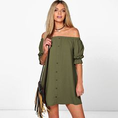 e6def87a83 Off the Shoulder Ibiza Shirt Dress Casual Party, Women's Casual, Casual  Summer, Dress