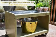 Turn an old TV stand into an outdoor coffee table complete with chalkboard top! The Picket Fence Recycled Furniture, Painted Furniture, Furniture Makeover, Diy Furniture, Old Tv Stands, Deck Makeover, Outdoor Coffee Tables, Diy Chalkboard, Porch Decorating