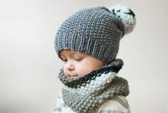 A beautiful knitted hat and infinity scarf for a child. Think I need to practice on my knitting skills. Baby Hats Knitting, Knitting For Kids, Crochet For Kids, Knitting Projects, Crochet Baby, Crochet Projects, Knitted Hats, Knit Crochet, Baby Patterns