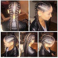 One Side Cornrows Braided Hairstyle Black Girl